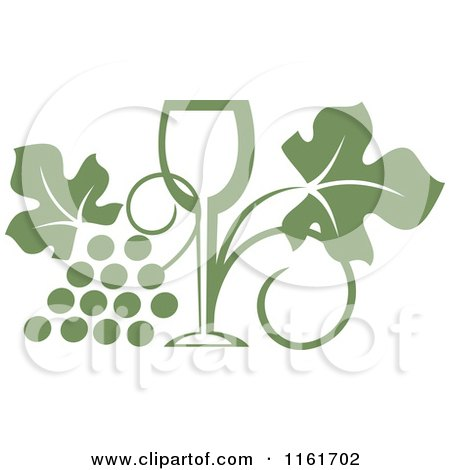 Clipart of an Olive Green Wine Glass and Grape Vine - Royalty Free Vector Illustration by Vector Tradition SM