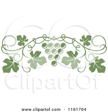 Clipart of an Olive Green Grape Vine and Fruit Page Border - Royalty Free Vector Illustration by Vector Tradition SM