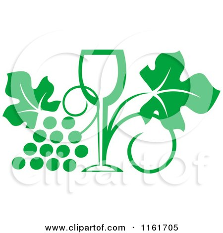 Clipart of a Green Wine Glass and Grape Vine - Royalty Free Vector Illustration by Vector Tradition SM