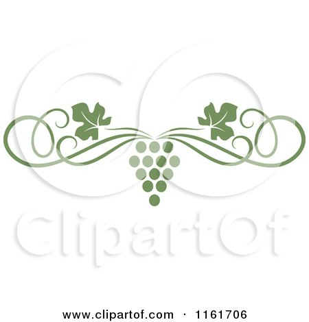 Clipart of an Olive Green Grape Vine and Swirl Page Border - Royalty Free Vector Illustration by Vector Tradition SM