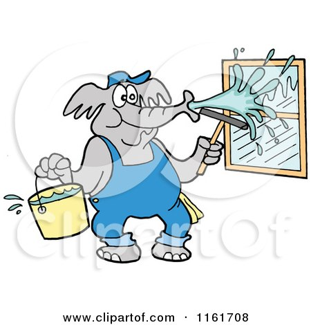 Cartoon of an Elephant Window Washer Spraying Glass - Royalty Free Vector Clipart by LaffToon