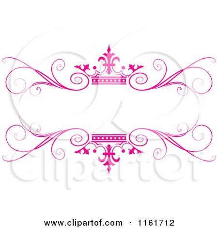 Clipart of an Ornate Pink Swirl and Crown Wedding Frame - Royalty Free Vector Illustration by Lal Perera