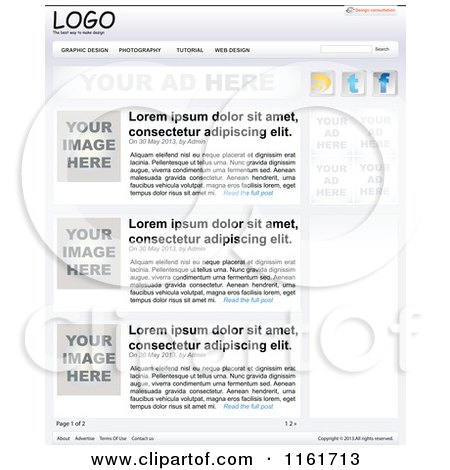 Clipart of a Website Template with Sample Text - Royalty Free Vector Illustration by Andrei Marincas