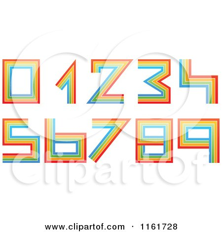 Clipart of Colorful Lined Numbers 0 Through 9 - Royalty Free Vector Illustration by Andrei Marincas