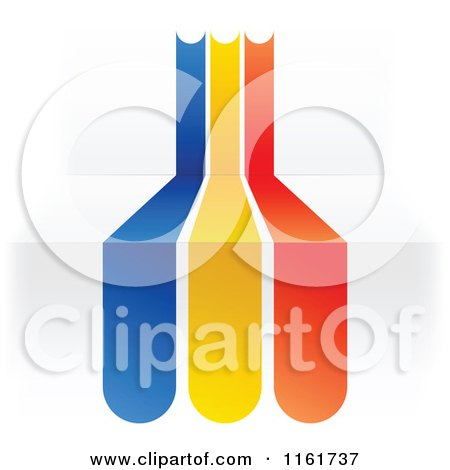 Clipart of a Romanian Flag over 3d Steps - Royalty Free Vector Illustration by Andrei Marincas