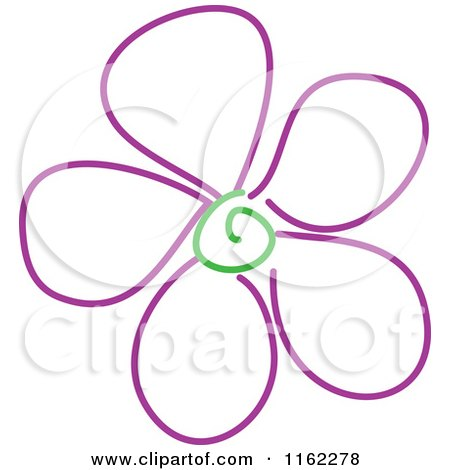 Cartoon of a Whimsy Purple Flower with a Gree Spiral Center - Royalty Free Vector Clipart by Prawny