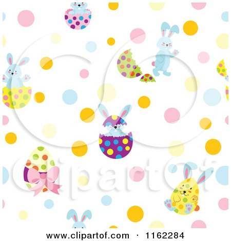 Clipart of a Seamless Easter Egg and Bunny Pattern with Dots - Royalty Free Vector Illustration by Cherie Reve