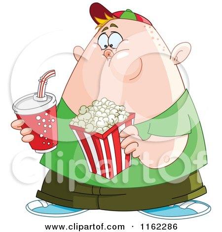 Cartoon of a Chubby Boy with Movie Popcorn and Soda - Royalty Free Vector Clipart by yayayoyo