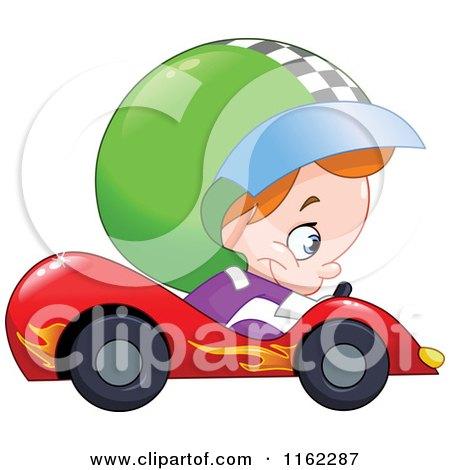 Cartoon of a Boy Driving a Race Car - Royalty Free Vector Clipart by yayayoyo