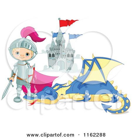 Cartoon of a Fairy Tale Knight Standing over a Slain Dragon - Royalty Free Vector Clipart by Pushkin