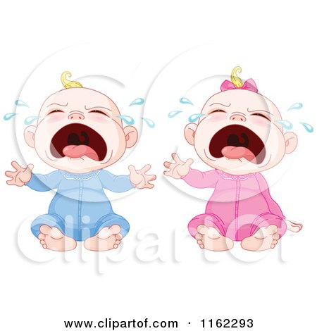 Cartoon Of Crying Blond Caucasian Babies Royalty Free Vector Clipart
