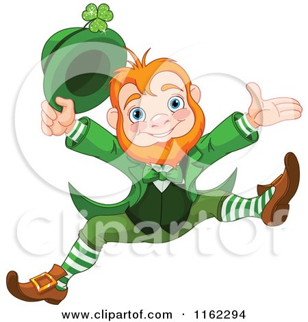 Cartoon Of A Cheerful Leprechaun Holding Up His Hat And Jumping Royalty Free Vector Clipart