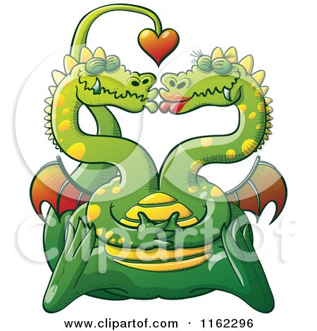 Cartoon of a Two Headed Dragon in Love, Smooching and Forming a Heart with Their Heads - Royalty Free Vector Clipart by Zooco