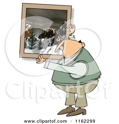 Cartoon of a Caucasian Man Hanging up a Snowy Mountain Picture - Royalty Free Clipart by djart