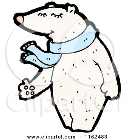 Polar Bear Wearing a Blue Scarf Posters, Art Prints