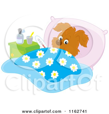 Cartoon of a Sick Puppy Resting in Bed - Royalty Free Vector Clipart by Alex Bannykh