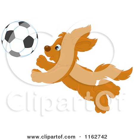Cartoon of a Puppy Chasing a Soccer Ball - Royalty Free Vector Clipart by Alex Bannykh