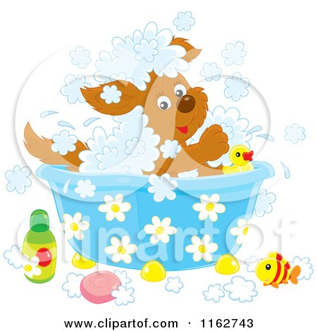 Cartoon of a Happy Puppy Playing in a Bath - Royalty Free Vector Clipart by Alex Bannykh