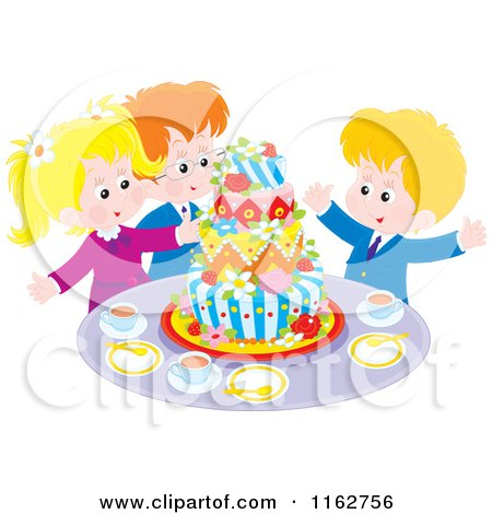 Cartoon of Happy Caucasian Children Celebrating Around a Cake - Royalty Free Vector Clipart by Alex Bannykh