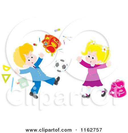 Cartoon of Blond Caucasian Students Playing Soccer and Making a Mess - Royalty Free Vector Clipart by Alex Bannykh