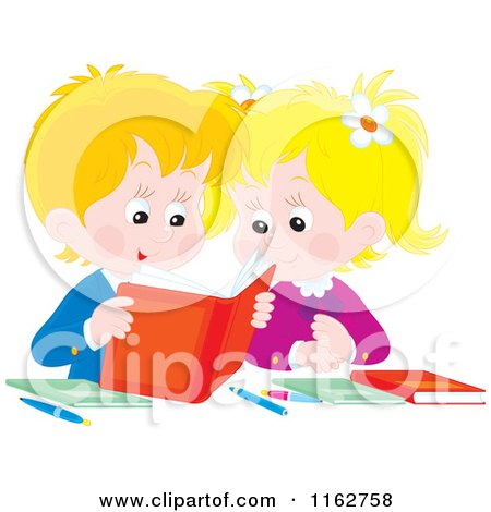 Cartoon of Blond Caucasian Students Reading a Book - Royalty Free Vector Clipart by Alex Bannykh