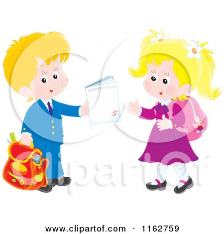 Cartoon of Blond Caucasian Students Exchanging a Work Book - Royalty Free Vector Clipart by Alex Bannykh