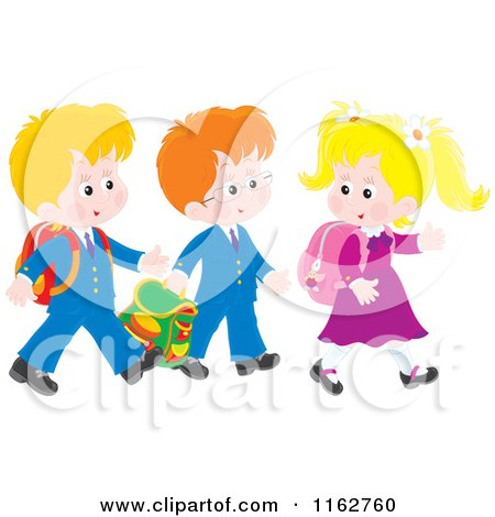 Cartoon of Caucasian Students Walking to School - Royalty Free Vector Clipart by Alex Bannykh