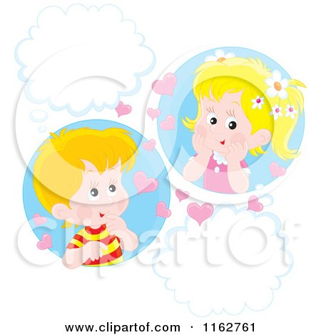 Cartoon of Caucasian Valentine Children with Hearts and Thought Balloons - Royalty Free Vector Clipart by Alex Bannykh