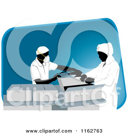 Clipart of Packaging Workers Wearing Masks, over a Blue Slanted Rectangle - Royalty Free Vector Illustration by David Rey