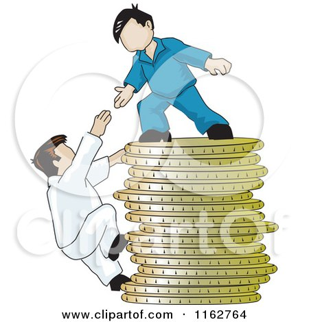 Cartoon of a Man on Top of a Pile of Coins Reaching down to Help a Climber - Royalty Free Vector Clipart by David Rey