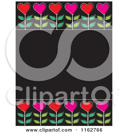 Cartoon of Red and Pink Heart Flowers on a Black Board with Copyspace - Royalty Free Vector Clipart by Maria Bell