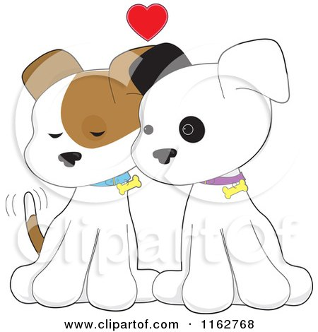 Cartoon of a Puppy Couple Cuddling Under a Red Heart - Royalty Free Vector Clipart by Maria Bell
