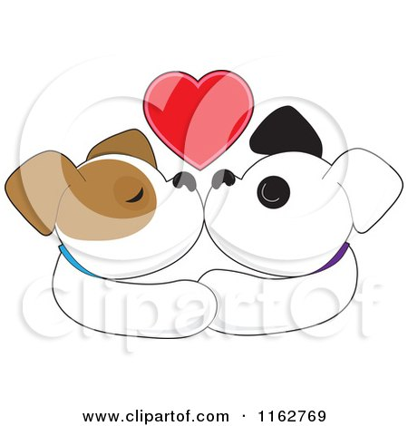 Cartoon of a Puppy Couple Smooching Under a Red Heart - Royalty Free Vector Clipart by Maria Bell