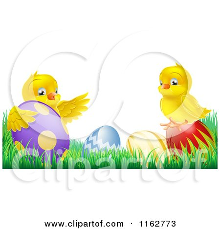 Cartoon of Yellow Easter Chicks Playing in Grass with Eggs - Royalty Free Vector Clipart by AtStockIllustration