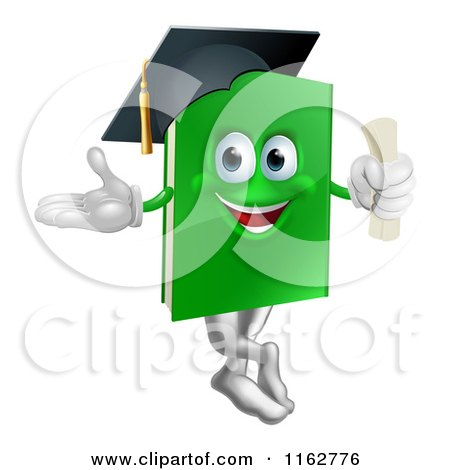 Cartoon of a Green Book Mascot Graduate - Royalty Free Vector Clipart by AtStockIllustration