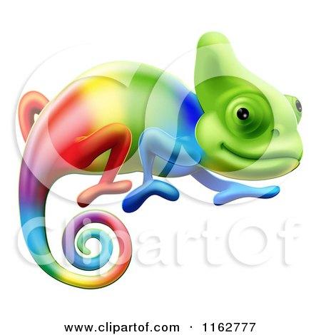 Cartoon of a Gradient Rainbow Chameleon Lizard - Royalty Free Vector Clipart by AtStockIllustration