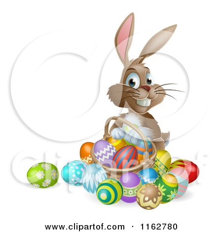 Cartoon Of A Happy Easter Bunny With a Basket of Easter Eggs - Royalty Free Vector Clipart by AtStockIllustration