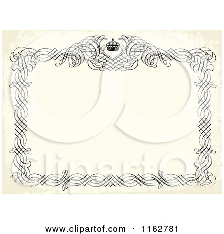 Clipart of a Distressed Beige Invitation with a Black Frame and Crown - Royalty Free Vector Illustration by BestVector