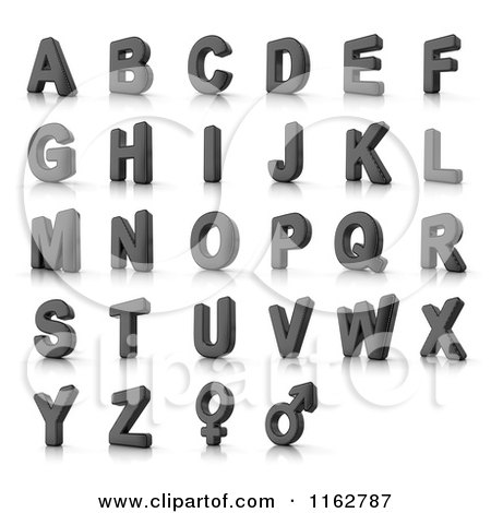 Clipart of 3d Perforated Metal Capital Alphabet Letters and Gender Symbols - Royalty Free CGI Illustration by stockillustrations