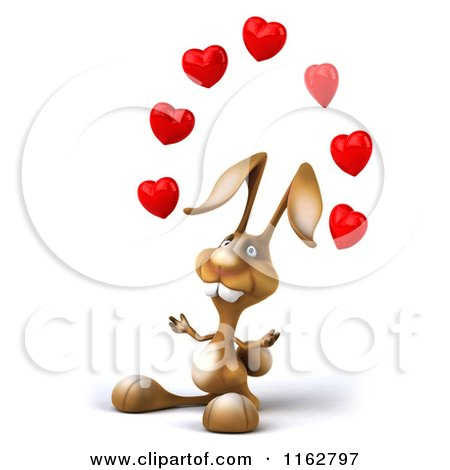 Clipart of a 3d Brown Bunny Juggling Hearts - Royalty Free CGI Illustration by Julos