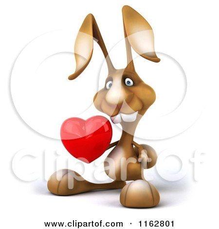 Clipart of a 3d Brown Bunny Holding a Heart - Royalty Free CGI Illustration by Julos