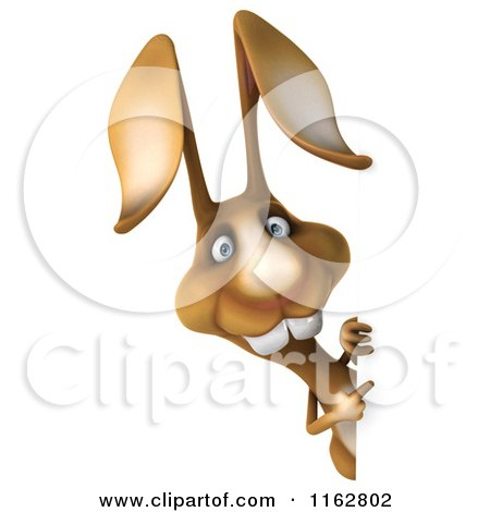 Clipart of a 3d Brown Bunny Looking Around a Sign - Royalty Free CGI Illustration by Julos