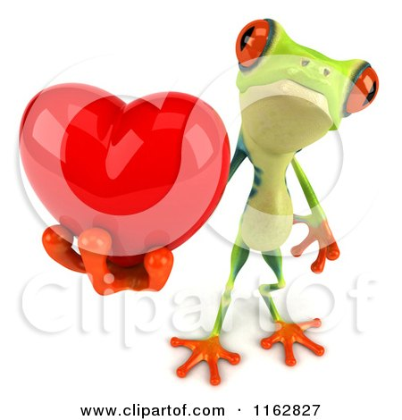 Clipart of a 3d Argie Frog Holding a Red Valentine Heart 2 - Royalty Free CGI Illustration by Julos