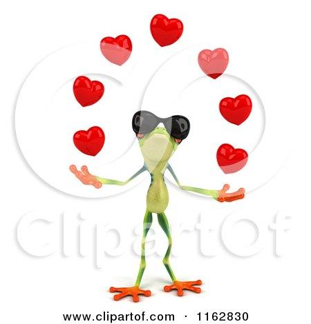 Clipart of a 3d Argie Frog Wearing Sunglasses and Juggling Hearts - Royalty Free CGI Illustration by Julos