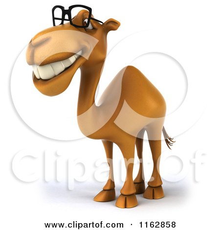 Clipart of a 3d Happy Camel Wearing Glasses 2 - Royalty Free CGI Illustration by Julos
