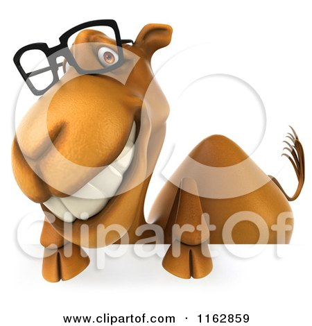 Clipart of a 3d Camel Wearing Glasses by a Sign 3 - Royalty Free CGI Illustration by Julos