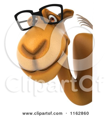 Clipart of a 3d Camel Wearing Glasses by a Sign 4 - Royalty Free CGI Illustration by Julos