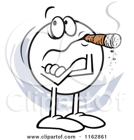 Cartoon of a Skeptical Moodie Character with Folded Arms, Smoking a Cigar, Not Buying It - Royalty Free Vector Clipart by Johnny Sajem