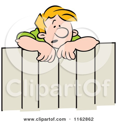 Cartoon of a Concerned Blond Neighbor Man Talking over a Fence - Royalty Free Vector Clipart by Johnny Sajem