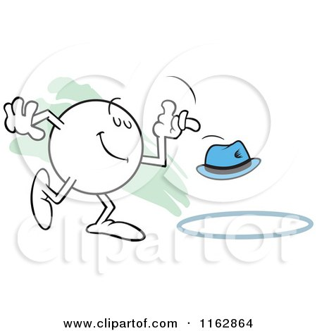 Cartoon of a Moodie Character Tossing a Hat into a Ring - Royalty Free Vector Clipart by Johnny Sajem